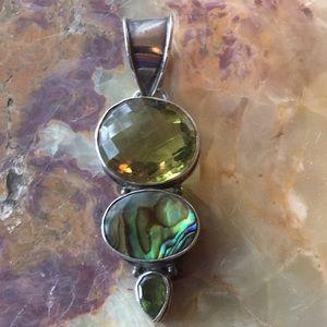 Sterling Pendant w/ Citrine, Abalone & Peridot